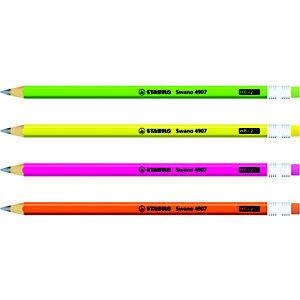 STABILO Matita in grafite Swano 4907, Mina HB, Con gommino, Colori Fluo assortiti (confezione 12 pezzi)
