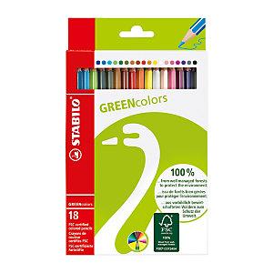 STABILO Pastelli colorati Greencolors, Colori assortiti (confezione da 18 pezzi)