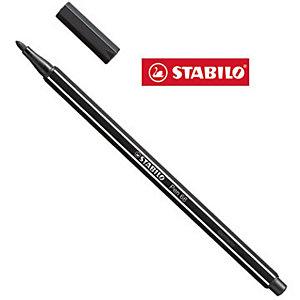 STABILO Pen 68 Penna con punta in fibra, Punta media, Fusto in polipropilene nero, Inchiostro nero (confezione 10 pezzi)