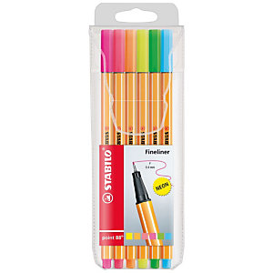 STABILO Penna fineliner point 88®, Punta fine, Fusto arancione a righe, Inchiostro in colori neon assortiti