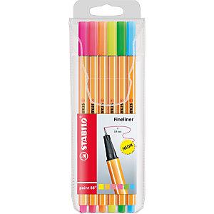STABILO Penna fineliner point 88®, Punta fine, Fusto arancione a righe, Inchiostro in colori neon assortiti