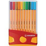 STABILO Point 88 Bolígrafo fineliner, punta fina de 0,4mm, cuerpo naranja de polipropileno, colores surtidos