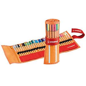 STABILO point 88® Penna fineliner, Punta fine, Fusto arancione, Inchiostro in colori assortiti (confezione 30 pezzi)