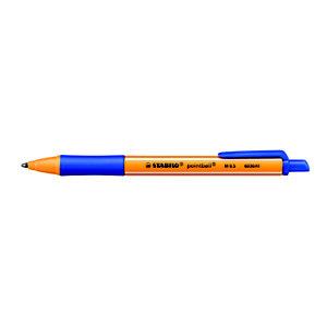 STABILO pointball Penna a sfera a scatto, Punta media, Fusto in plastica arancio e blu con grip, Inchiostro blu
