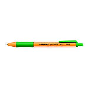 STABILO Pointball Penna a sfera a scatto, Punta media, Fusto in plastica arancio e verde con grip, Inchiostro verde