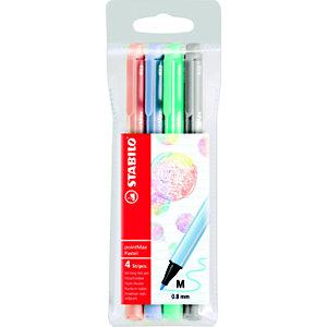 STABILO pointMax Pastel Penna con punta in nylon, Punta media, Colori pastello assortiti: Carnicino chiaro, Blu ghiaccio, Verde ghiaccio, Grigio freddo chiaro (confezione 4 pezzi)