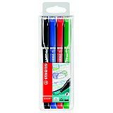 STABILO Sensor® Bolígrafo fineliner, punta extrafina, cuerpo de colores variados, colores de tinta variados: negro, azul, rojo y verde