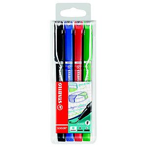 STABILO Sensor® Fineliner, Punta extra-fine, Colori del fusto assortiti, Colori dell'inchiostro assortiti: nero, blu, rosso, verde