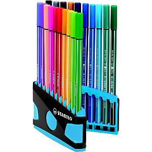 STABILO Stylo-feutres Pen 68, ColorParade, étui de 20 feutres, pointes moyennes, couleurs d'encre assorties