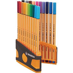 STABILO Stylo-feutres Point 88, ColorParade, étui de 20 feutres pointes fines (0,4 mm),  couleurs d'encre assorties