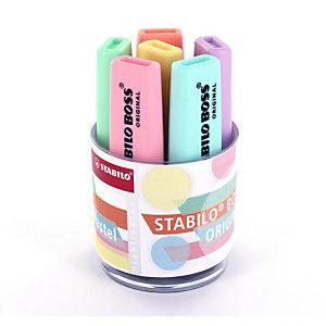 STABILO Surligneur BOSS® ORIGINAL, Pointe biseautée 2 - 5 mm, 6 coloris pastel