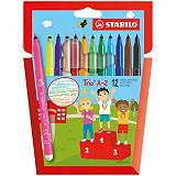 STABILO Trio® A-Z, 378/1-12-01, Bolígrafo de punta de fibra, 0,7 mm, colores surtidos, pack de 12