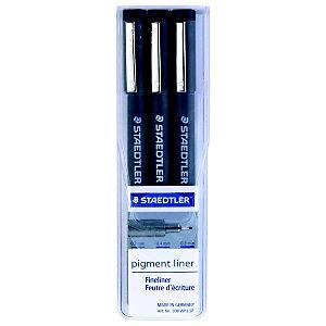 Staedtler Bolígrafo fineliner pigmento delineador, tamaños de punta variados, cuerpo negro, tinta negra