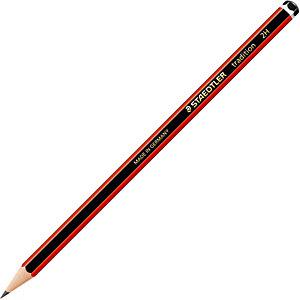 Staedtler Lápiz de grafito, mina 2H, cuerpo hexagonal negro y rojo