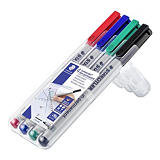 STAEDTLER Lumocolor 316 Rotulador no permanente, punta ojival, 0,6 mm, negro, rojo, azul, verde