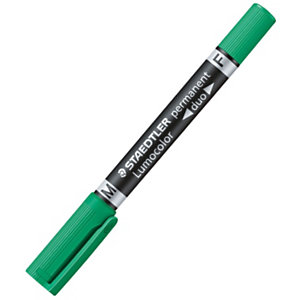 STAEDTLER Lumocolor Duo Rotulador permanente, punta doble, 0,6 mm-1,5 mm, verde