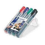 STAEDTLER Lumocolor Lumocolor® 350 Marcador permanente, punta biselada de 2-5 mm, 4 colores surtidos