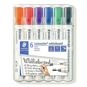 STAEDTLER Lumocolor Lumocolor® Marcatore per lavagna, Punta tonda, 2 mm, Colori assortiti, Confezione da 6 pezzi (confezione 6 pezzi)