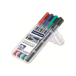 STAEDTLER Lumocolor Marqueur permanent Lumocolor® Duo pointes ogives fine et moyenne (0,6mm et 1,5mm) couleurs assorties lot de 4