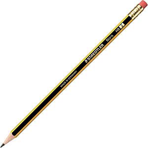 Staedtler Noris Crayon de papier avec gomme mine HB corps hexagonal jaune et noir