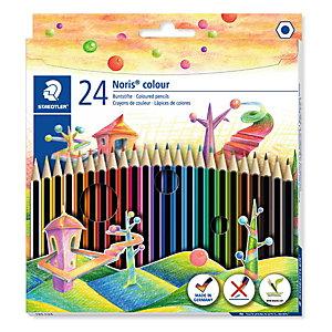 Staedtler Noris Lápices de colores, cuerpo hexagonal, colores de minas variados