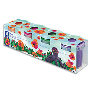 STAEDTLER Set de 4 pots pate à modeler Noris Club 130g Rose Orange Vert Violet