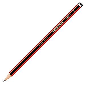 Staedtler Tradition, lápiz de grafito, mina B, cuerpo hexagonal negro y rojo