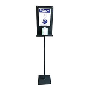 Standaard hydroalcoholische gel stalen dispenser op voet, grijze kleur