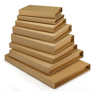 Standard brown panel wrap book boxes with an adhesive strip