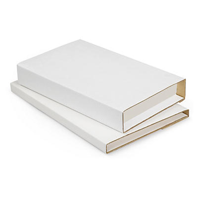 Standard white panel wrap book boxes with an adhesive strip