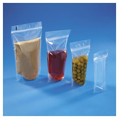 Sachet plastique zip à soudures étanches##Standbodenbeutel mit Druckverschluss