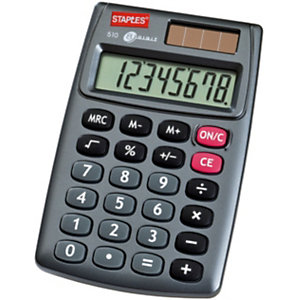 Staples 510 Calculadora de bolsillo, gris