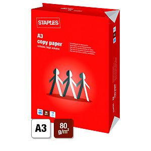 Staples A3 80 gramos Papel para láser, inyección tinta, fotocopiadoras y fax, blanco