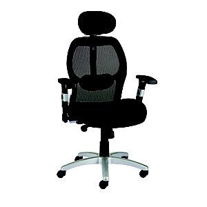 Staples Aero Plus Sillón de dirección ergonómico, malla y tela, altura 120,5-132 cm, negro