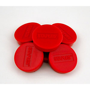Staples Aimants ronds 25 mm rouge, poids supporté 425 g, paquet de 10