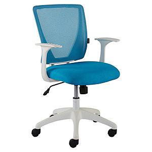 Staples Anguilla Silla de oficina, malla y tela, altura 88-99,5 cm, blanco y verde azulado