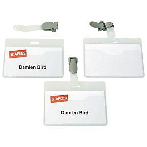 Staples Badge visiteur nominatif à clip rotatif, PVC, paysage, 60x90mm, transparent
