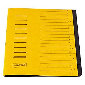 Staples Básico Clasificador, A4, cartulina, 7 pestañas, amarillo