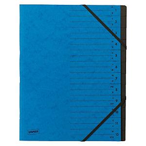 Staples Básico Clasificador con gomas, A4, 12 compartimentos, azul