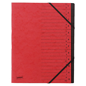 Staples Básico Clasificador con gomas, A4, 12 compartimentos, rojo