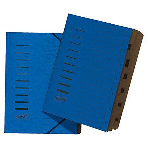 Staples Básico Clasificador con gomas, A4, 7 compartimentos, azul