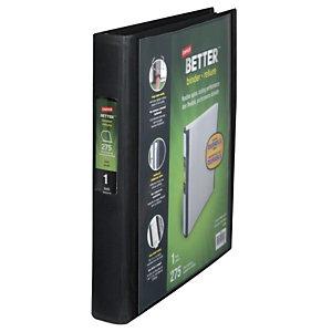 Staples BETTER™ Carpeta personalizable de anillas tipo D, A4, ancho del lomo de 40 mm, capacidad para 275 hojas, polipropileno, negro