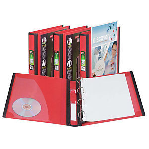 Staples BETTER™ Carpeta personalizable de anillas tipo D, A4, ancho del lomo de 40 mm, capacidad para 275 hojas, polipropileno, rojo