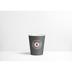 Staples Bicchieri di carta usa e getta per bevande, Grigio scuro con logo stampato, 250 ml (confezione 80 pezzi)