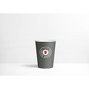Staples Bicchieri di carta usa e getta per bevande, Grigio scuro con logo stampato, 300 ml (confezione 75 pezzi)
