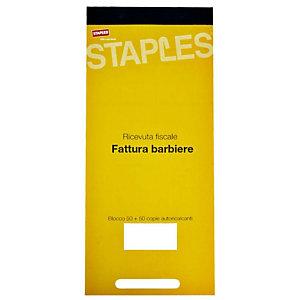 Staples Blocco ricevute fiscali per barbiere, 22 x 10 cm, Autocopiante, Copie 50 + 50 (confezione 10 pezzi)