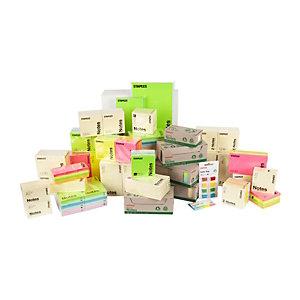 Staples Blocs de notas autoadhesivas, 76 x 76 mm, 70 gramos, colores variados de neón