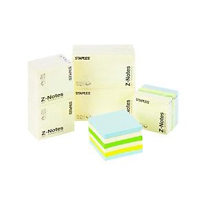 Staples Blocs de notas Z-Notes autoadhesivas, 76 x 76 mm, 70 gramos, amarillo