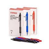 Staples Aura Bolígrafo retráctil de gel, punta mediana de 0,7mm, cuerpo translúcido con grip, tinta azul