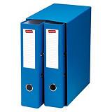 Staples Box de 2 archivadores de palanca, Folio, Lomo 75 mm, Capacidad 500 hojas, Cartón resistente recubierto de papel impreso, Azul